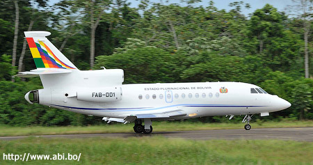 The airplane of Bolivian President Evo Morales